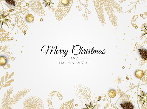 Golden christmas plants greeting background