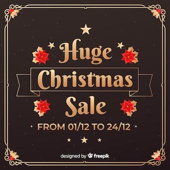 Golden christmas sale background