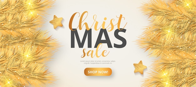 Golden christmas sale banner template