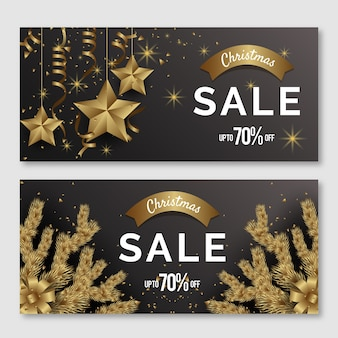 Golden christmas sale banners pack