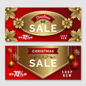 Golden christmas sale banners set