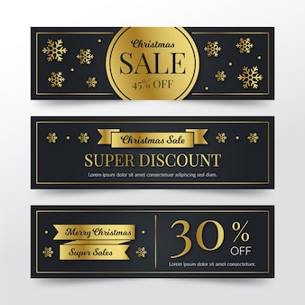 Golden christmas sale banners template