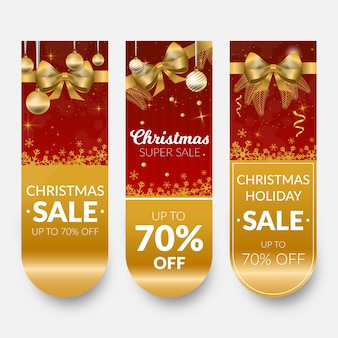 Golden christmas sale banners with ribbon and bow