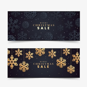 Golden christmas sale banners