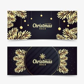 Золотые рождественские продажи баннеров