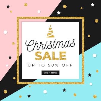 Golden christmas sale concept