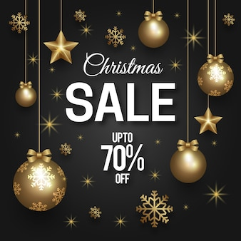 Golden christmas sale concept