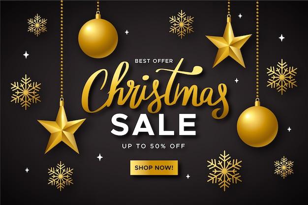 골든 크리스마스 판매 개념