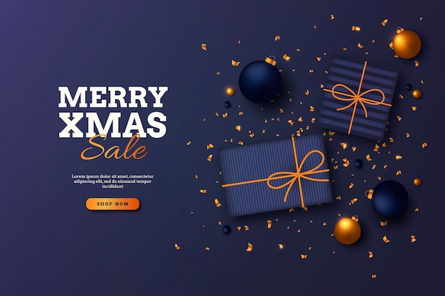Golden christmas sale template