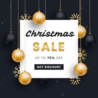 Golden christmas sale with balls