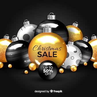 Golden christmas sale with ornaments