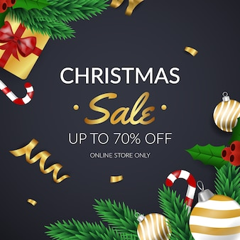 Golden christmas sale with pine leaves and gifts