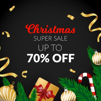 Golden christmas sale with ribbon and gift