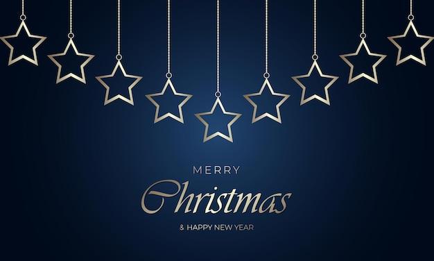 네이비 블루 배경에 금 사슬에 매달려 황금 크리스마스 별