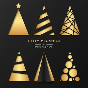 Golden christmas tree collection in modern style