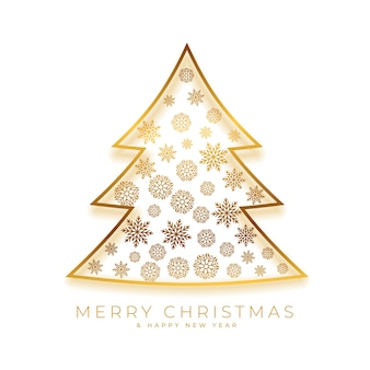 Golden christmas tree decoration festival greeting card