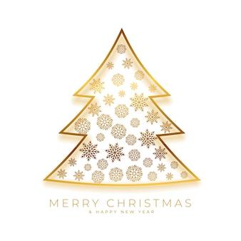 Золотая рождественская елка праздничная открытка