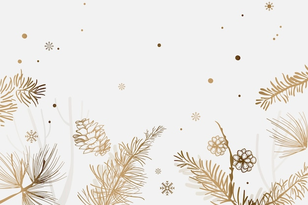 Golden christmas tree festive background