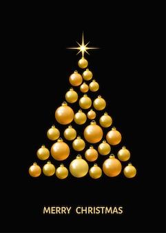 Золотая елка из рождественских шаров и звезды на черном фоне