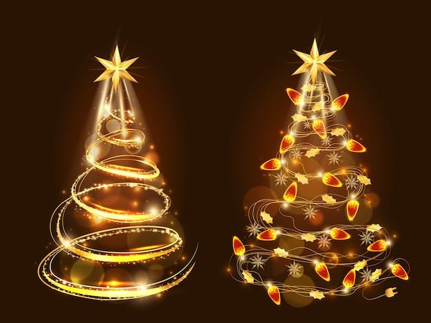 リアルな金色の装飾で作られた黄金のクリスマスツリー