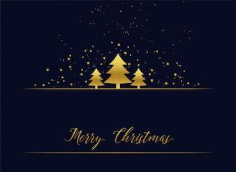 Golden christmas tree premium greeting