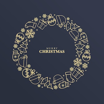 Golden christmas wreath concept