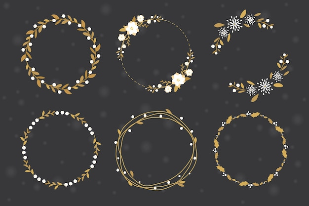 Golden christmas wreath  frame collection flat style
