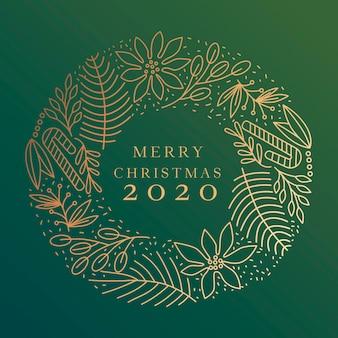 Золотой рождественский венок иллюстрация