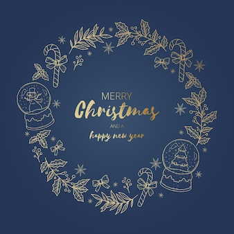 Golden christmas wreath template
