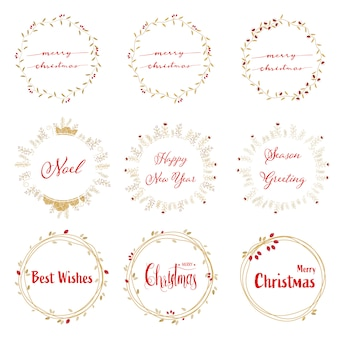 Golden christmas wreath with red calligraphy collection