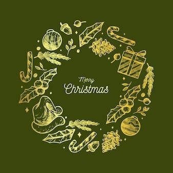 Золотой рождественский венок