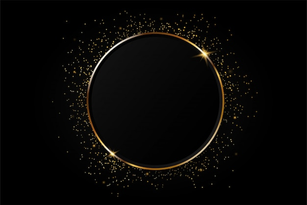 Golden circle abstract background.