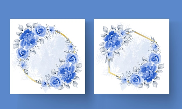 ゴールデンサークル青いバラ花フレーム無料ベクトル