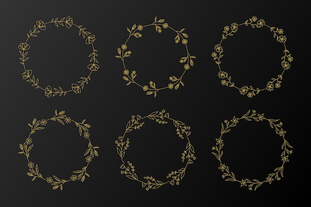 Набор цветочных рамок золотой круг. венок нарисованный рукой