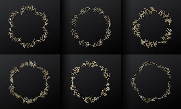 Золотая круглая цветочная рамка для дизайна логотипа вензеля. градиент золотой цветок границы.