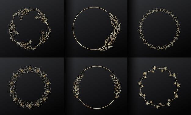 モノグラムロゴデザインのゴールデンサークルフラワーフレーム。グラデーションゴールドの花のボーダー。