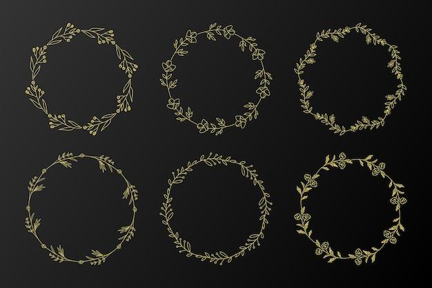 Золотая круглая цветочная рамка для иллюстрации дизайна логотипа монограммы