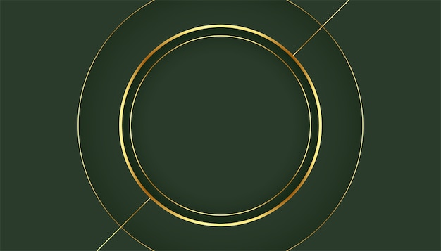 Golden circle frame on green background