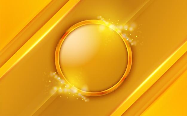 Рамка золотой круг на желтом фоне