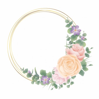 Golden circle frame with flower decoration and eucalyptus leaf style watercolor