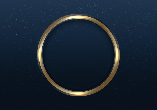 Golden circle frame with light and glitter on dark blue background luxury style. elegant frame gold ring with space for your text. vector illustration