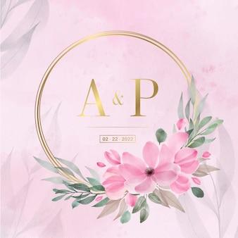 結婚式の招待カードの水彩花柄のゴールデンサークルフレーム