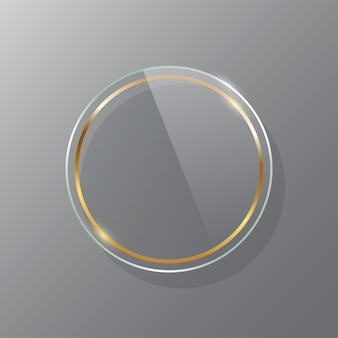 Golden circle glass frame realistic mockup luxurious makeup mirror isolated on transparent background