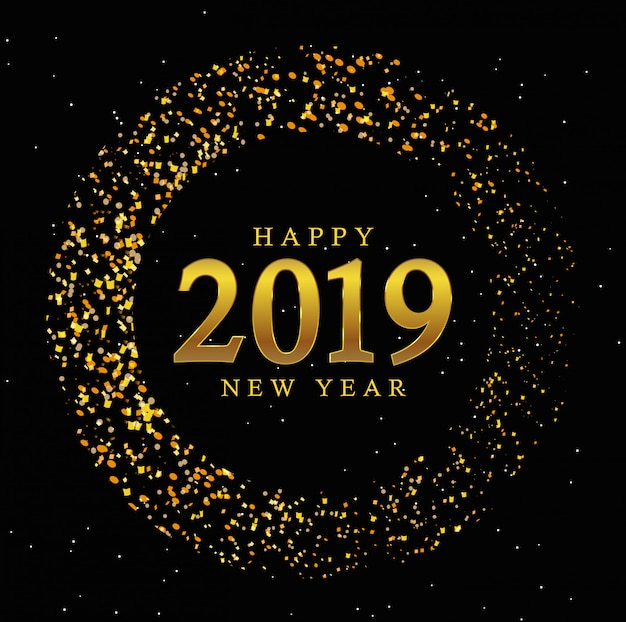 Golden circle new year 2019 vintage background