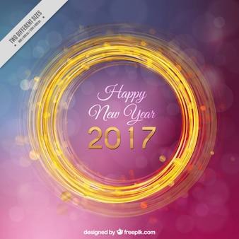 Golden circle new year purple background