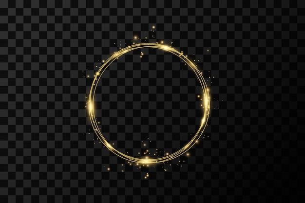골든 서클 링. 금박 금 질감의 장식 디자인 요소입니다. 번쩍이는 돌리기