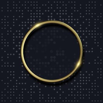 ドットパターンと金色の円の形の背景。ベクトルイラスト。