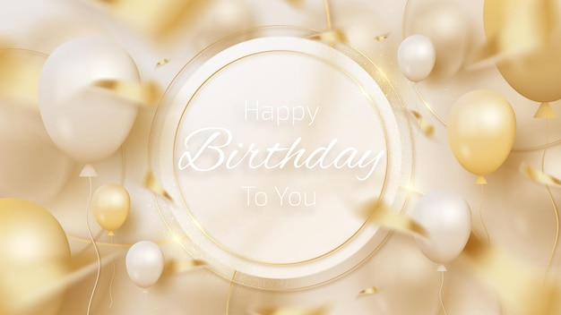 Golden circle with balloons and ribbon elements, luxury birthday greeting card background.