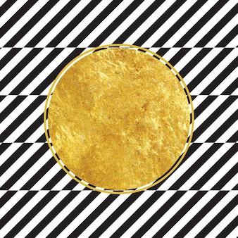 黒と白のストライプの背景を持つ黄金の円