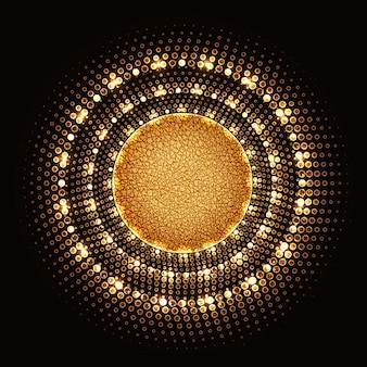 검은색 바탕에 하프톤 네온 불빛과 질감이 있는 노란색 코어가 있는 황금 원.